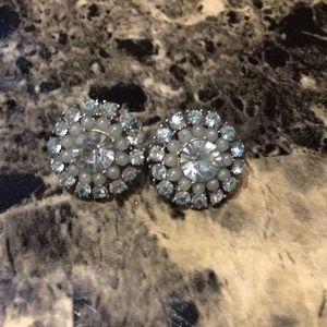 Aldo earrings silver with light blue/green